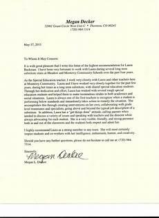 Letter Of Recommendation Teacher Letter Of Recommendation From Special Education Teacher