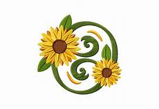 classic sunflower circle machine embroidery design daily