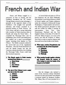 French And Indian War Reading With Questions Student