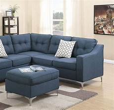 blue fabric sectional sofa set f6999 poundex modern
