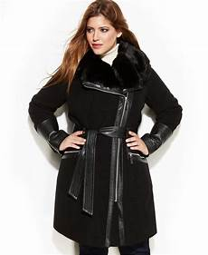 via spiga plus size mixed media faux fur trim belted wool