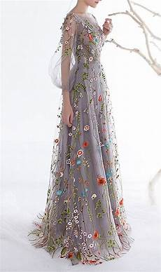 embroidery dress s zipper back floral embroidery sleeves