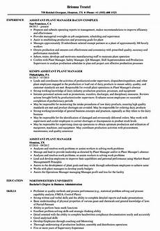 Plant Manager Resume Assistant Plant Manager Resume Samples Velvet Jobs
