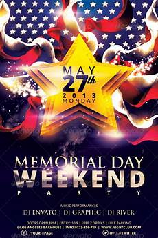 Memorial Day Flyer Memorial Day Weekend Party Flyer Template By Hermz