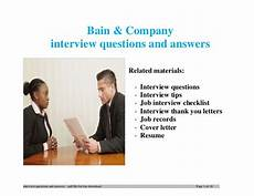 Interview Questions For Ceo Position Bain Amp Company Interview Questions And Answers