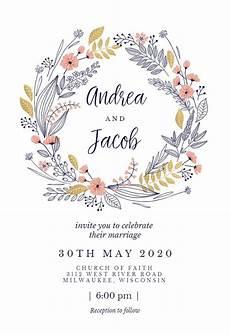 Free Electronic Invitation Wedding Wreath Wedding Invitation Template Free In 2020