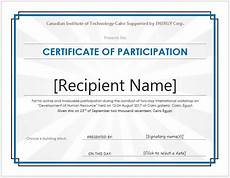 Sample Certificate Of Participation Certificate Of Participation Templates For Ms Word