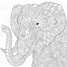 Afrikanische Muster Malvorlagen Zum Ausdrucken Or Indian Elephant Isolated On White Background