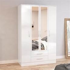 lynx 4 door combination mirrored wardrobe white