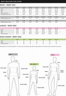 Body Size Chart Size Chart Pinewood