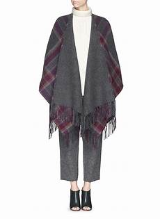 lyst theory saiome check plaid felted wool poncho in gray