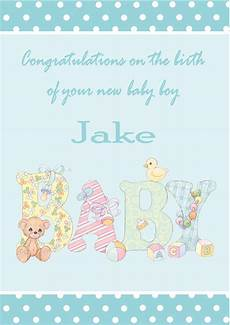 Baby Boy Designs Personalised New Baby Boy Card Design 1