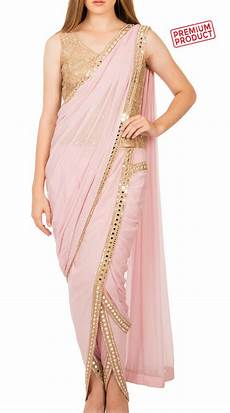 Dhoti Saree Design Baby Pink Chiffon Designer Dhoti Saree With Mirror Work Bp2134