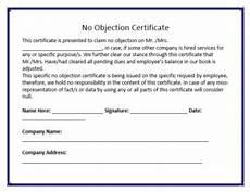 Affidavit For No Objection Certificate No Objection Certificate Template Certificate Templates