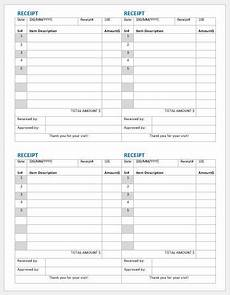 sales receipt template word 2003 payment receipts templates 2 per page word excel