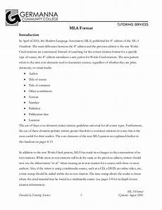 College Mla Format Mla 8th Edition Citation Format By Germanna Community