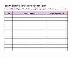Team Sign Up Sheet Sign Up Sheet Template 22 Soccer Snack Pinterest