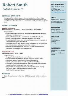Pediatric Nursing Resume Pediatric Nurse Resume Samples Qwikresume