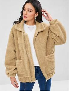 zaful coats 69 2018 zip up fluffy winter coat in camel brown l