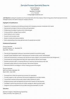 Resume The Process Sample Process Specialist Resume Resame Pinterest Resume