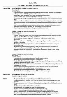 Facilities Manager Resume Assistant Facilities Manager Resume Samples Velvet Jobs