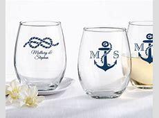 Personalized Stemless Wine Glass   Nautical Wedding