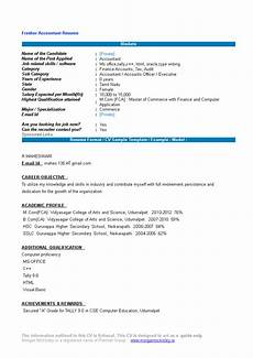 Fresher Accountant Resume Sample Accountant Fresher Resume Format Templates At