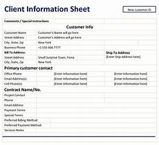 Customer Contact Information Template Client Information Sheet Template