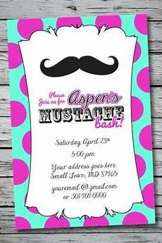 Diy Birthday Party Invitations Mustache Printable Birthday Party Invitation File Photo