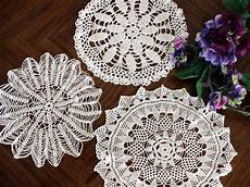 3 lacy doilies vintage crochet doilies crocheted doily