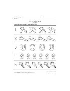 Free Kindergarten Math Worksheets Number Sense And