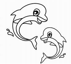 Animals Coloring Cute Dolphin Animal Coloring Page
