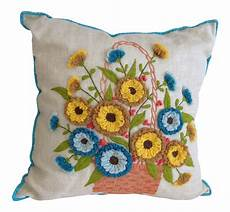 Sofa Pillows Decorative Sets Brown Png Image by Embroidered Linen Accent Pillow On Chairish Pillows