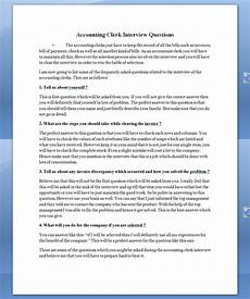 Interview Questions Accounting See Once Accounting Clerk Interview Questions