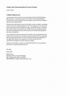 Coworker Letter Of Recommendation Former Coworker Letter Of Recommendation Templates At