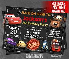 Cars Birthday Invites Disney Cars Invitation Instant Download Disney Cars