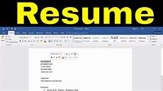 How To Do A Resume On Word How To Create A Resume In Microsoft Word Tutorial Youtube