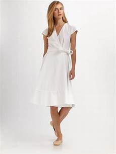 lyst chlo 233 cotton cap sleeve wrap dress in white