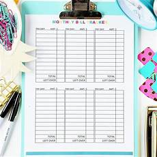 Bill Tracker Monthly Bill Tracker Digital Download The Budget
