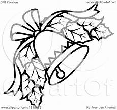 Black And White Christmas Graphics Clipart Of A Black And White Christmas Bell With Holly