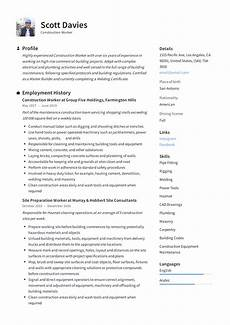 Construction Worker Resume Templates Construction Worker Resume Amp Writing Guide 12 Templates