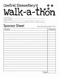 Walk A Thon Pledge Sheet Central Wildcat Pride Walk A Thon Sponsor Collecting