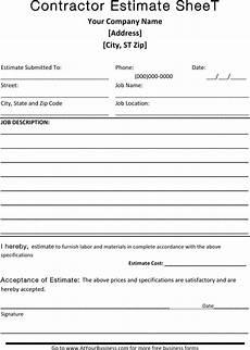Blank Estimate Form Template Blank Estimate Template Download Free Amp Premium