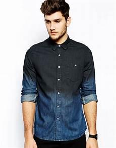 lyst asos denim shirt in sleeve with dip dye in