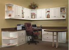 home office with extended table and lots of storage
