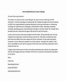 Internship Recommendation Letter Sample Free 11 Sample Reference Letters In Ms Word Pdf