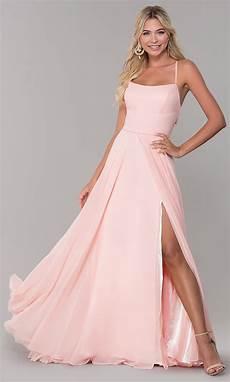 side slit open back pink prom dress promgirl