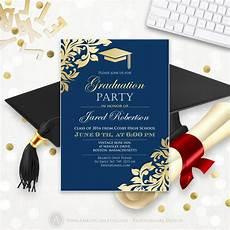 Graduation Announcements Templates Free Graduation Announcement Printable Navy Gold College Graduation