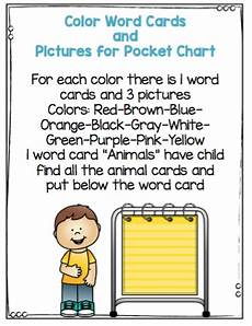 Cards And Pockets Color Chart Color Words And Picture Cards For Pocket Chart Activity
