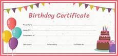 Free Printable Birthday Certificates Birthday Gift Certificate Templates 16 Free Word Pdf